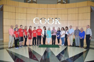 Members of the Cook Wellness team accepting the American Heart Association Fit-Friendly award.