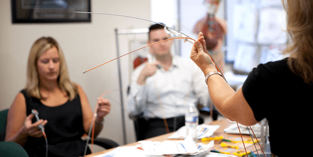 Meredith, an Endoscopy district manager, receives product training for our Captura® Biopsy Forceps.