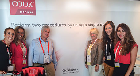 Dr Goldstein pictured with the Cook team (l-r) Anna Campo, Ana Lozano, Andrea Haynes, Patricia Rollan, and Laura Robinson at ISUOG 2014.