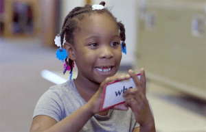 A Bloomington Boys & Girls Club participant practices with flash cards.